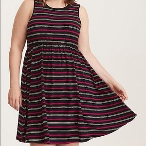 Torrid Jersey Striped Skater Open Back Dress